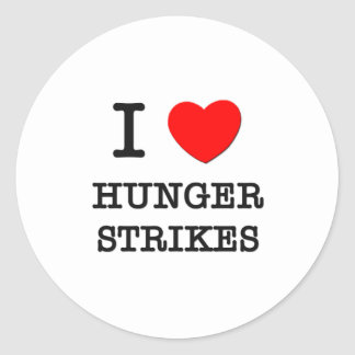 I Love Hunger Strikes Round Sticker