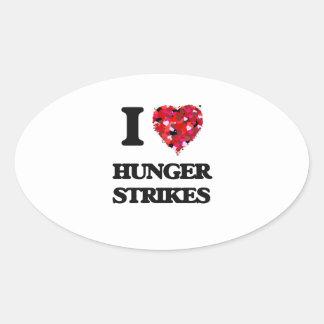 I Love Hunger Strikes Oval Sticker