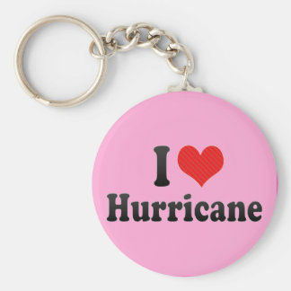 I Love Hurricane Basic Round Button Key Ring