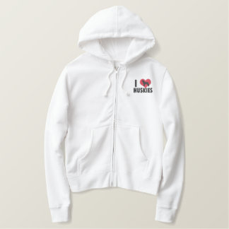 I Love Huskies Ladies Embroidered Hoodie