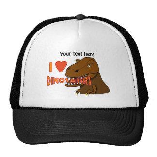 I Love I Heart Dinosaurs Cartoon Tyrranosaurus Rex Mesh Hat