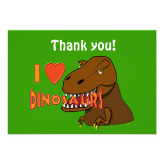 I Love I Heart Dinosaurs Cartoon Tyrranosaurus Rex Personalized Invitations