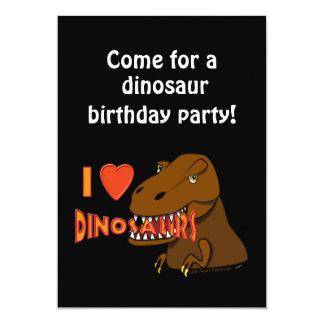 I Love I Heart Dinosaurs Cartoon Tyrranosaurus Rex Custom Invite