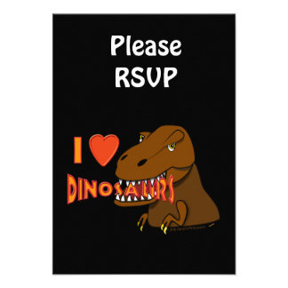 I Love I Heart Dinosaurs Cartoon Tyrranosaurus Rex Custom Invites