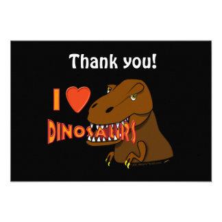 I Love I Heart Dinosaurs Cartoon Tyrranosaurus Rex Personalized Announcement
