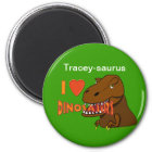 I Love I Heart Dinosaurs Cartoon Tyrranosaurus Rex Magnet