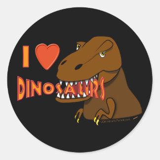 I Love I Heart Dinosaurs Cartoon Tyrranosaurus Rex Round Sticker