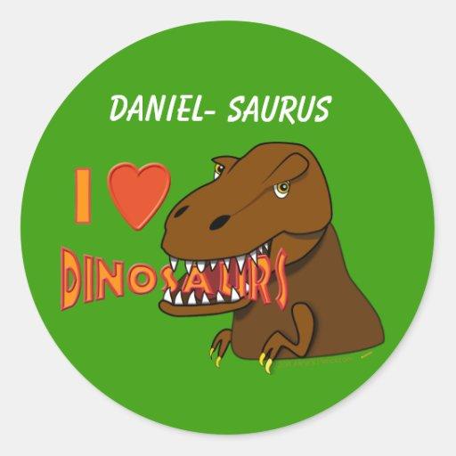 I Love I Heart Dinosaurs Cartoon Tyrranosaurus Rex Round Stickers