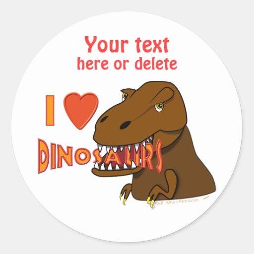 I Love I Heart Dinosaurs Cartoon Tyrranosaurus Rex Sticker