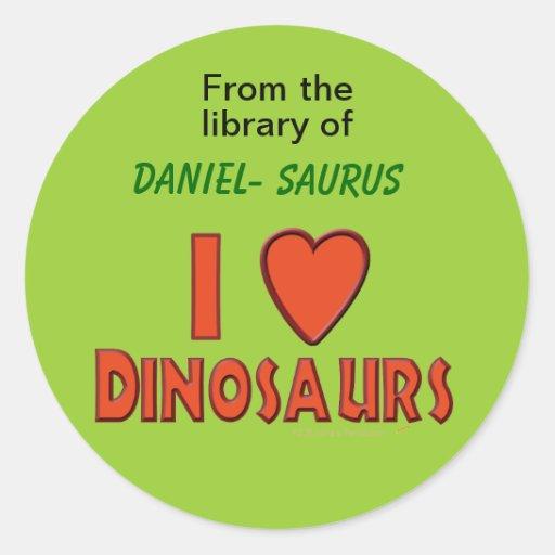 I Love (I Heart) Dinosaurs Custom Name Book Label Stickers
