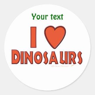 I Love (I Heart) Dinosaurs Dinosaur Lover Red Round Sticker