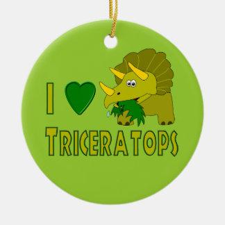 I Love (I Heart) Triceratops Cute Dinosaur Christmas Ornament