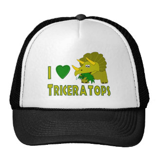I Love (I Heart) Triceratops Cute Dinosaur Mesh Hats