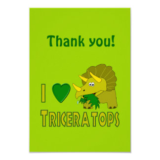 """I Love (I Heart) Triceratops Cute Dinosaur 3.5"""" X 5"""" Invitation Card"""