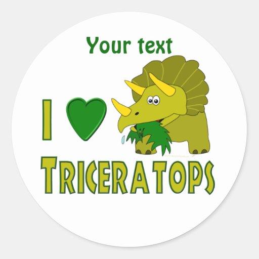I Love (I Heart) Triceratops Cute Dinosaur Round Sticker