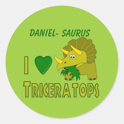 I Love (I Heart) Triceratops Cute Dinosaur Round Stickers