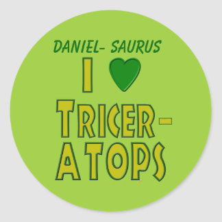 I Love (I Heart) Triceratops Dinosaur Green Classic Round Sticker