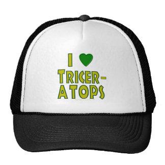I Love (I Heart) Triceratops Dinosaur Green Mesh Hats