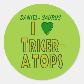 I Love (I Heart) Triceratops Dinosaur Green Round Sticker