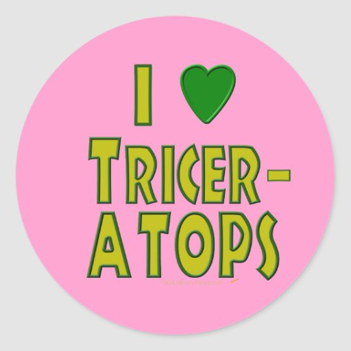 I Love (I Heart) Triceratops Dinosaur Green Sticker