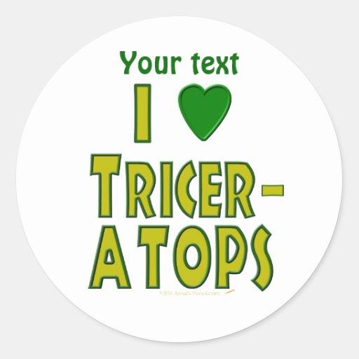 I Love (I Heart) Triceratops Dinosaur Green Stickers