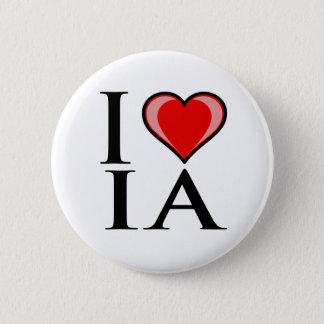 I Love IA - IOWA 6 Cm Round Badge