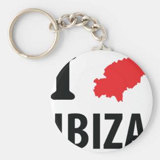 I love Ibiza contour icon Basic Round Button Key Ring