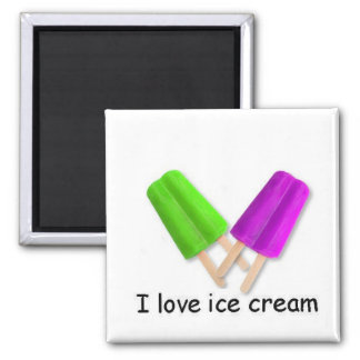 I love ice cream Green and Purple Twin Pops Magnet