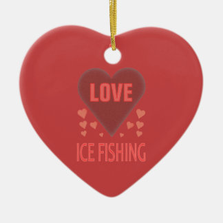 I Love Ice Fishing Christmas Ornament