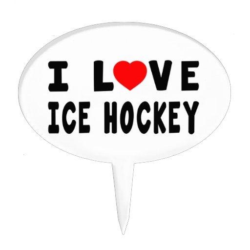 I Love Ice Hockey Cake Picks