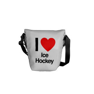 i love ice hockey messenger bags