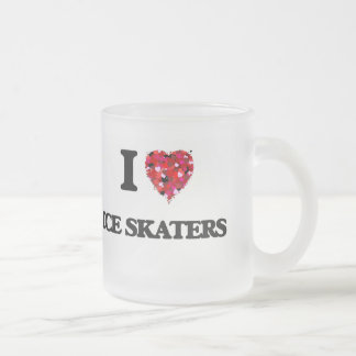 I Love Ice Skaters Frosted Glass Mug
