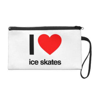 i love ice skates wristlet purse