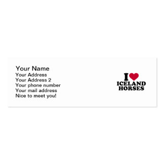 I love Iceland horses Double-Sided Mini Business Cards (Pack Of 20)