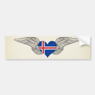 I Love Iceland -wings Bumper Sticker