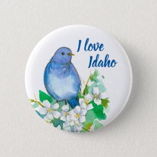 I Love Idaho Mountain Bluebird Mock Orange 6 Cm Round Badge