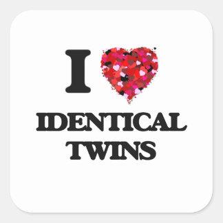 I love Identical Twins Square Sticker