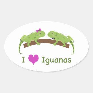 I love Iguanas Oval Sticker