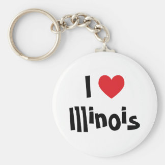 I Love Illinois Basic Round Button Key Ring