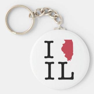 I Love Illinois Basic Round Button Key Ring