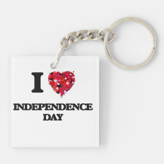 I Love Independence Day Double-Sided Square Acrylic Key Ring