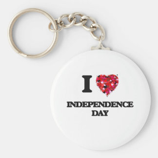 I Love Independence Day Basic Round Button Key Ring