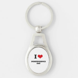 I Love Independence Day Silver-Colored Oval Key Ring