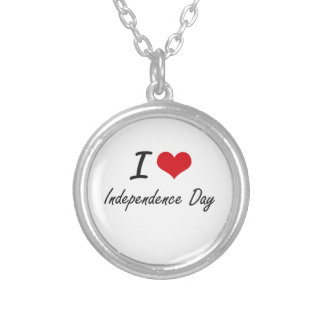 I Love Independence Day Round Pendant Necklace