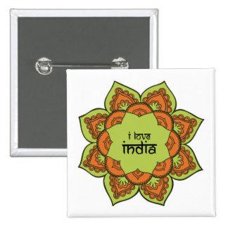 I Love India 15 Cm Square Badge