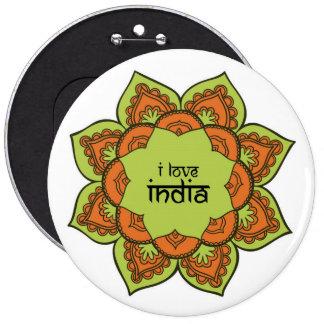 I Love India 6 Cm Round Badge