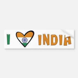 I Love India Bumper Sticker