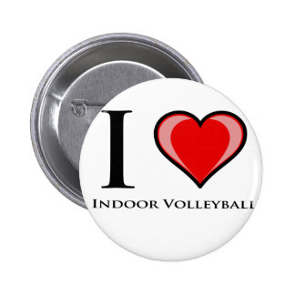 I Love Indoor Volleyball Button