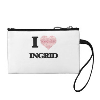 I love Ingrid (heart made from words) design Change Purses