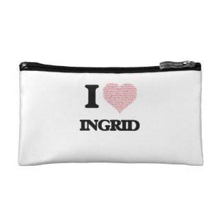 I love Ingrid (heart made from words) design Cosmetic Bags
